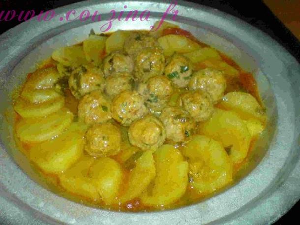Tajine de pomme de terre et boulettes de viande