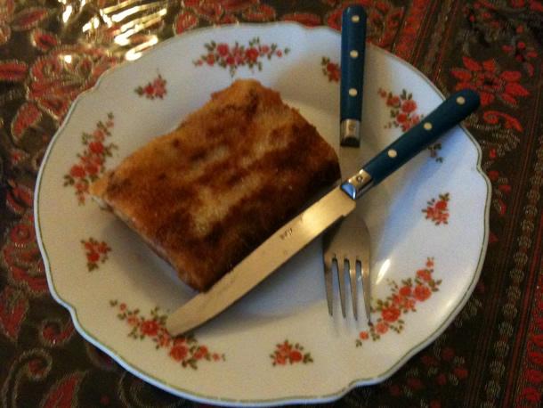 Crêpe panée au cabillaud à la sauce épinards