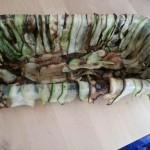 Disposition des tranches de courgettes frites dans le moule.