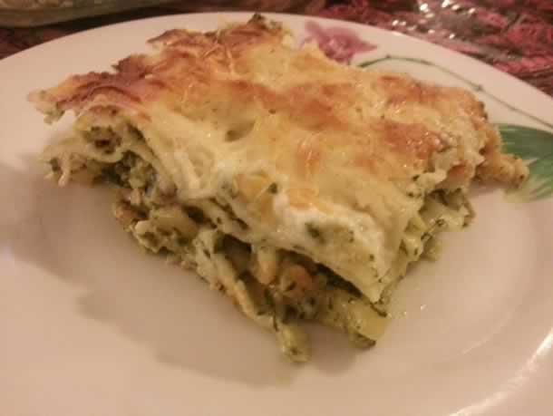 Lasagnes au colin, crevettes et épinards