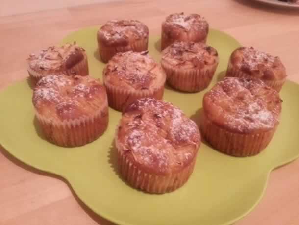 Muffins aux pommes et chocolat blanc