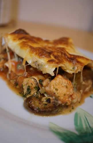 Lasagnes au saumon, épinards et légumes