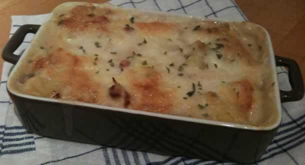 Gratin de choux fleurs/Pommes de terre et lardons de dinde