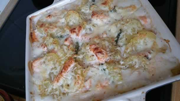 Gratin de pommes de terre/haricots verts au saumon