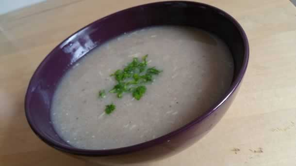 Soupe de champignons et poulet
