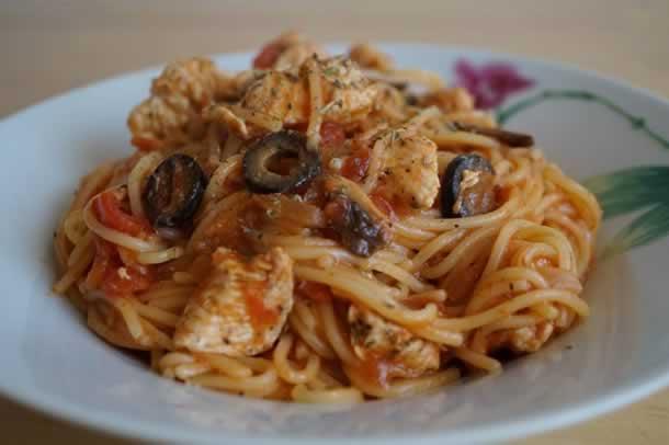 One pot pasta à la dinde et aux olives