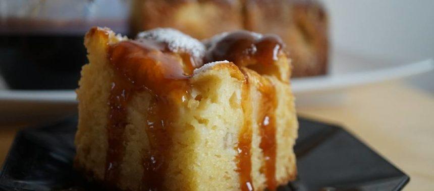 Moelleux aux pommes&nectarines au caramel au beurre salé à la fleur de sel